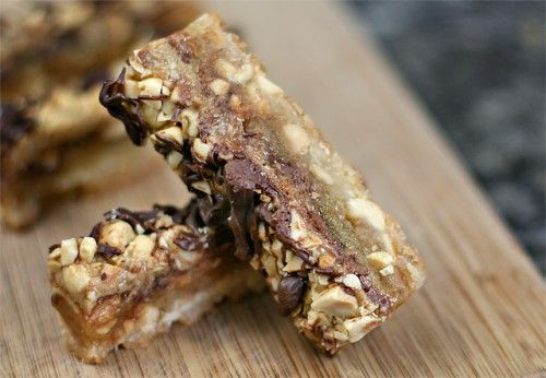 """sticky-fingers-bar- Described as """" so decadent that it's borderline embarassing"""", I know I have to try this one.  Rebecca Crump of Ezra Pound Cake cleverly describes this bar,""""They're like big Snickers bars that have eaten a bunch of little Snickers bars."""""""
