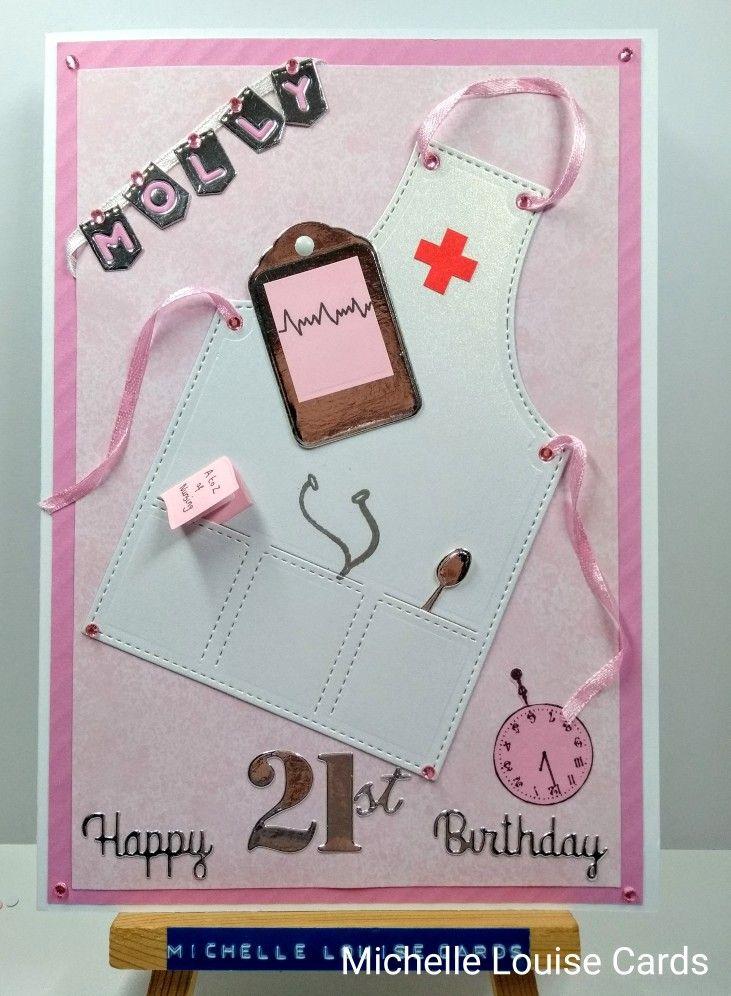 Nurses 21st Birthday Card In Pinks