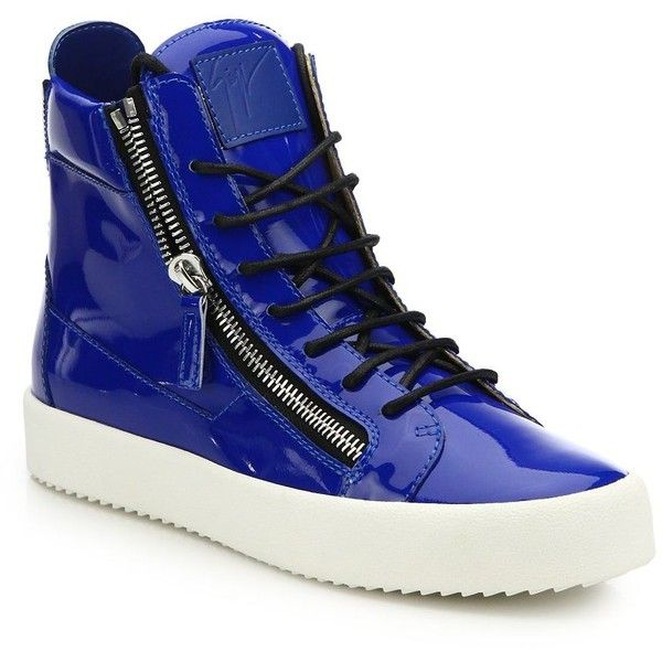 Giuseppe Zanotti Double-Zip Patent Leather High-Top Sneakers :... ($730) ❤ liked on Polyvore featuring men's fashion, men's shoes, men's sneakers, apparel & accessories, bright blue, mens high top sneakers, mens patent leather shoes, mens patent leather sneakers, giuseppe zanotti mens sneakers and mens patent shoes