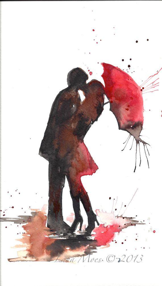 Love Paris Romance Kiss Red Umbrella Original Watercolor Painting, contemporary modern wall art illustration home wall decor