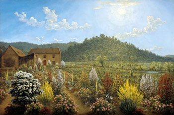 """John Glover's """"A view of the artist's house and garden, In Mill's Plain Van Diemen's Land"""" 1835. The English cottage garden is transported."""
