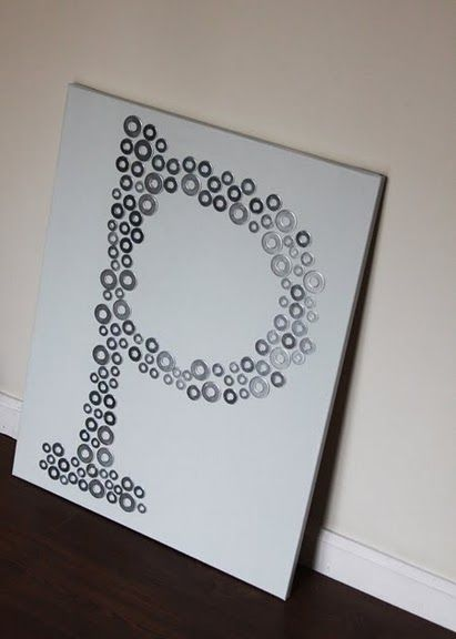 Cheap wall artProjects, Ideas, Washer Art, Diy Wall Art, Canvas, Washer Monograms, Letters, Boys Room, Crafts