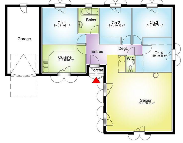 plan grande maison avec 4 chambres top avec une vranda pour chauffer sjour et - Plan De Maison De 100m2 Plein Pied