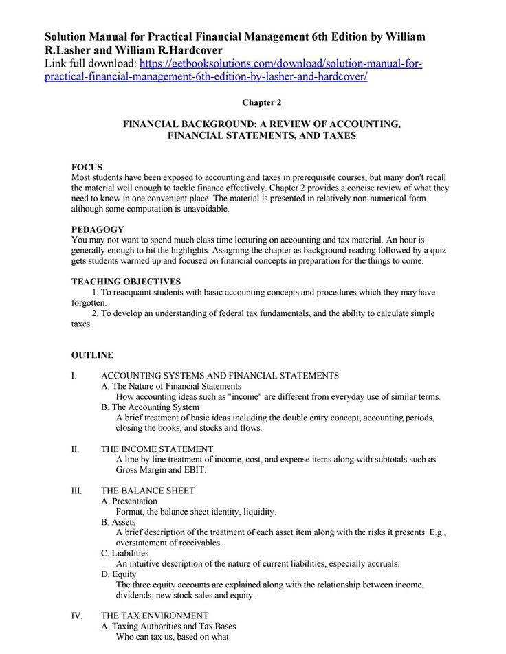 Solutions Manual Practical Financial Management 6th Edition Lasher Financial Management Solutions Manual
