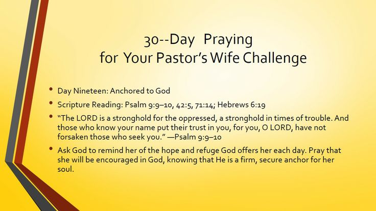 30-­‐Day Praying for Your Pastor's Wife Challenge