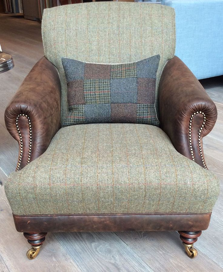 The huntsman chair in old bard leather harris tweed for Leather and tweed sofa