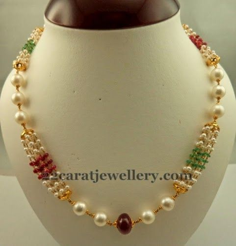 Jewellery Designs: Beads Necklace for Kurthis