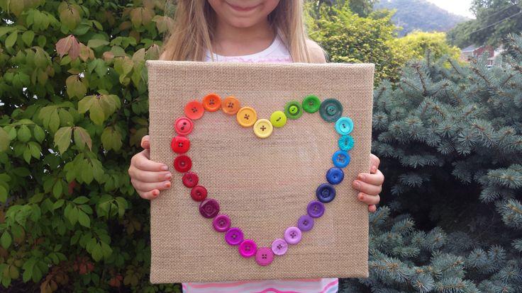 Rainbow Nursery Decor, Rainbow Button Heart Wreath, 12x12 3D Deep Edge Burlap Canvas, Baby Shower Nursery Art, #Etsy Gifts, Ready to Ship by JemBunnyButtons on Etsy https://www.etsy.com/listing/264285290/rainbow-nursery-decor-rainbow-button