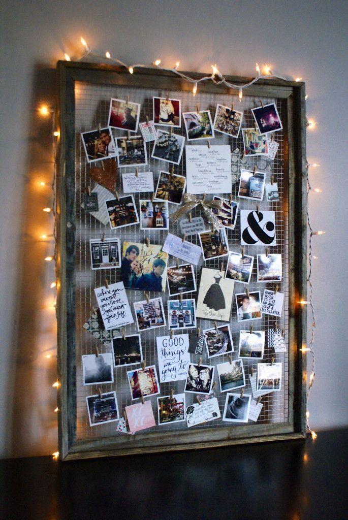 Use an old picture frame to create a mood board. Perfect for displaying snippets of inspiration!