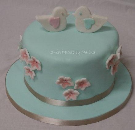 Lovebirds theme engagement cake - by Marina Costa @ CakesDecor.com - cake decorating website