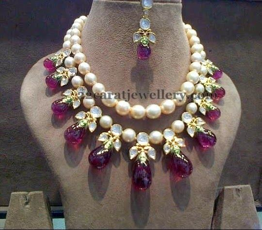 Flawless Pearls Ruby Drops Choker - Jewellery Designs