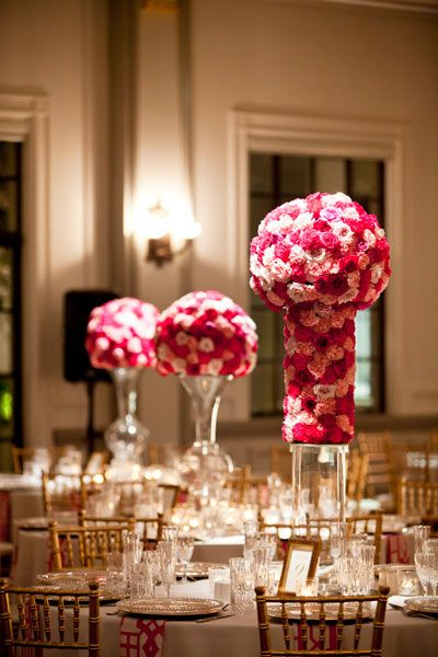 roses and carnations in graduating pink tones