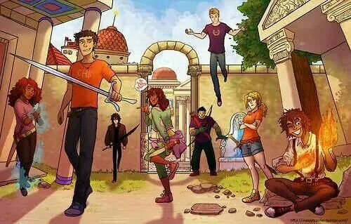 The seven plus Nico in New Rome. This is cool, though it would be better with Reyna as well.