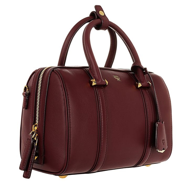 Handtasche, MCM, Signature Smooth Leather Boston Small Rustic Brown