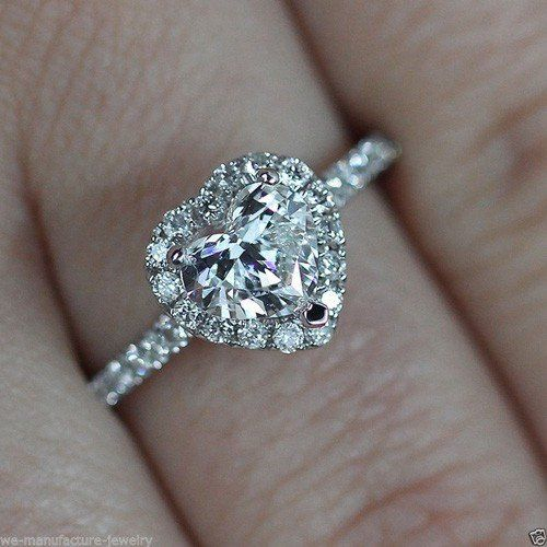 A Perfect 1.4CT Heart Halo Russian Lab Diamond Ring