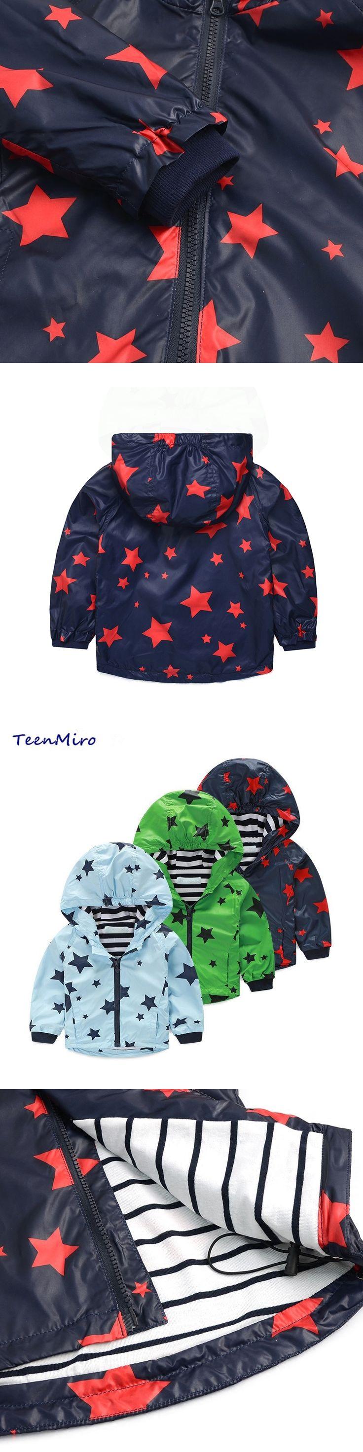 Hooded Boys clothes Spring Jacket Windbreaker Stars Children outerwear Waterproof Kids Coats toddler boy clothing baby outwear