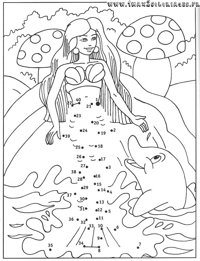 Coloriage Point A Point Sirene Et Dauphin Coloriage Dessin
