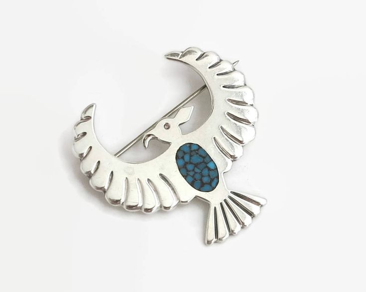 Native American sterling silver brooch of eagle with mosaic inlay of turquoise chips, faintly stamped 925 for sterling silver, 12 grams by CardCurios on Etsy