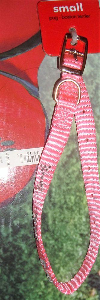 "Pink Bone shape Rhinestones femle Puppy Dog Collar Size Small 3/8"" in x 7-10"" in #PetWear"
