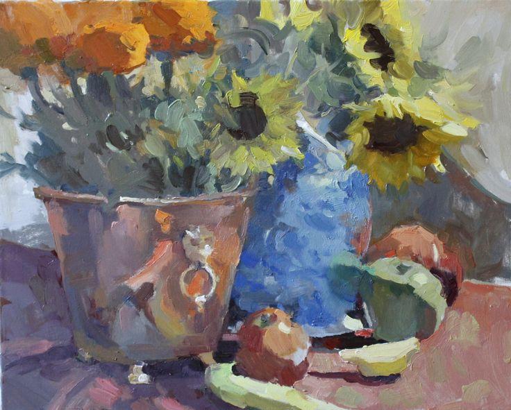 Marigolds, Sunflowers & Fruit