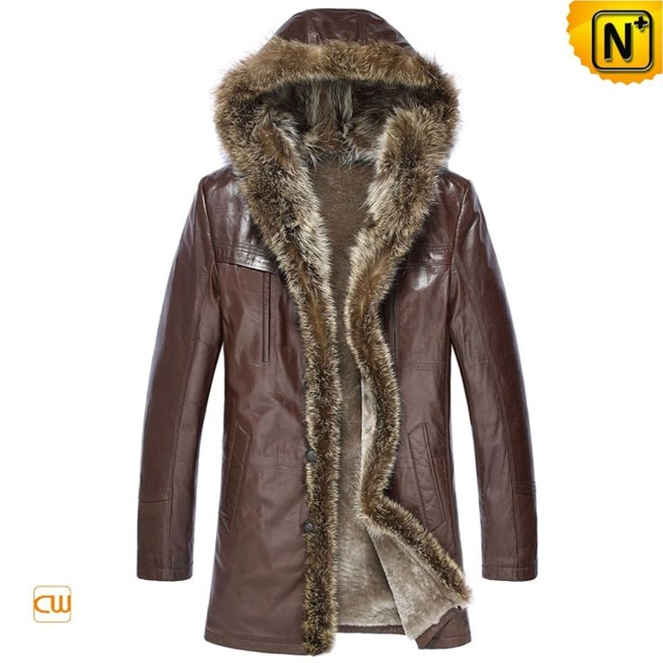 """CWMALLS® Custom Brown Mens Fur Coat CW877160 - Custom made brown fur coat for men, natural sheepskin leather shell and warm shearling lining, luxurious fur trimmed hood and fur trim in front make this coat look more stylish, also you can customize this raccoon fur coat if you have special requirements, and it will definitely keep you toasty in these cold days, even """"Ice Age"""" comes."""