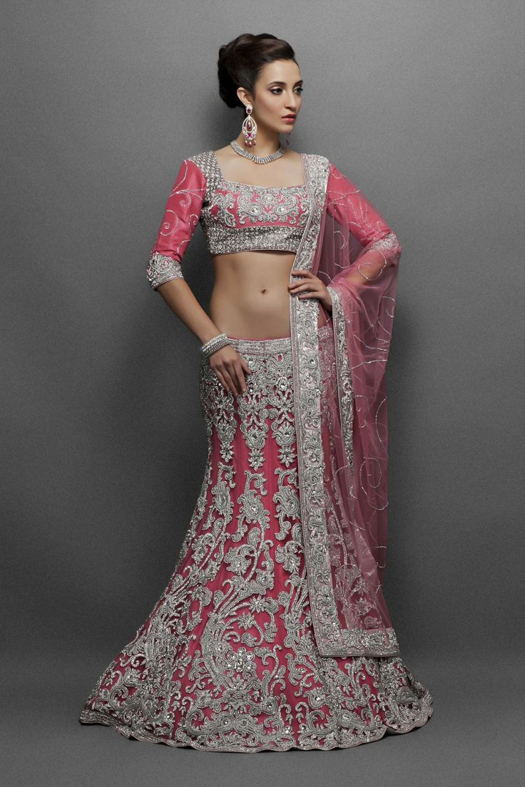 Pink net Lehenga with silver Zercon & Crystals