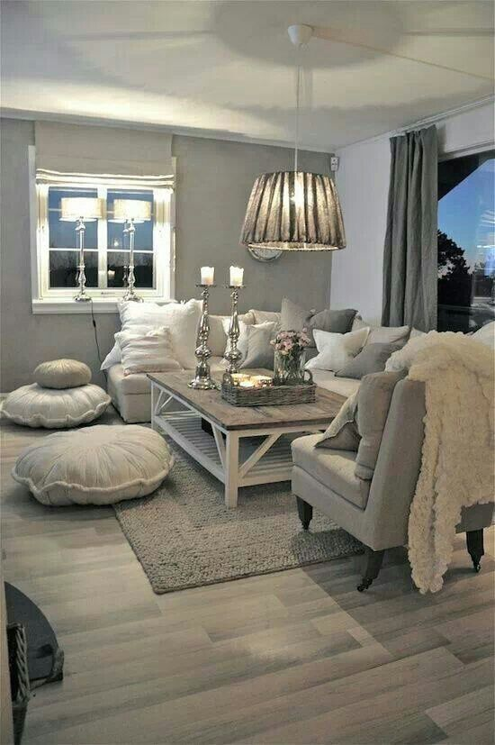 whitewashed and comfy living room - very Zen