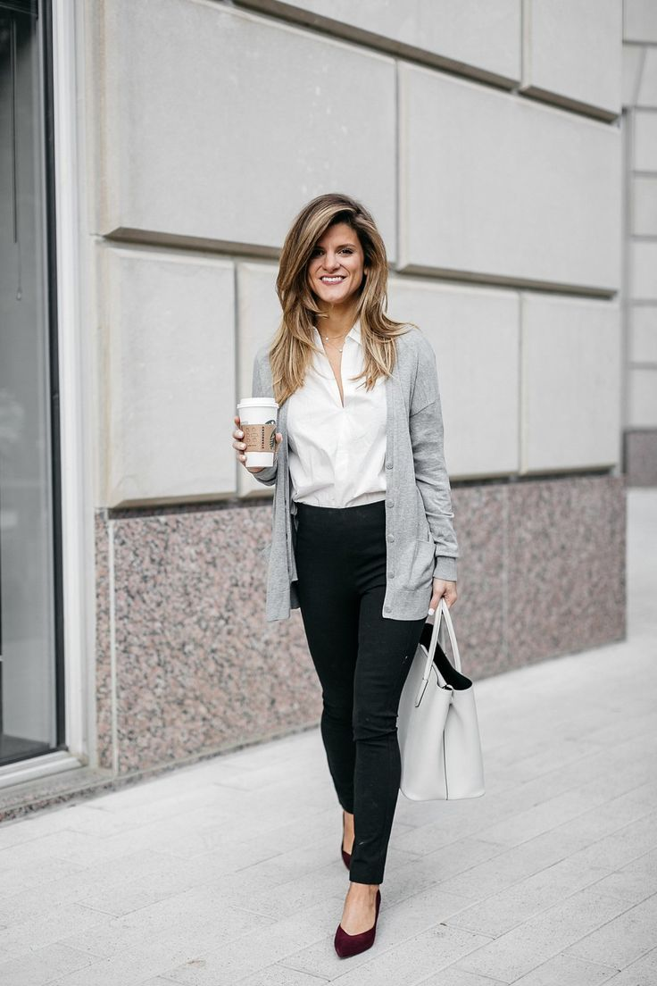 grey lightweight cardigan, white button down shirt, black ponte pants, and kitte…