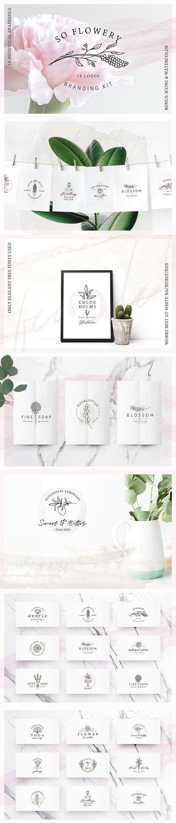 So Flowery Branding Kit+Watercolours by AgataCreate on @creativemarket