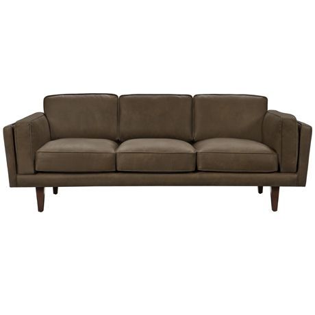 freedom's Brooklyn 3 set sofa in leather.  Inspired by mid-century design and upholstered in full-grain leather, the Brooklyn sofa will add vintage glamour to any living room. The rich detailing of cushion piping, plush feather-fibre blend filled cushions and the smooth feel of the old saddle-like leather are key features.   http://www.freedom.com.au/furniture/sofas/leather-sofas-modulars/23243057/brooklyn-3-seat-sofa-oxford-tan/