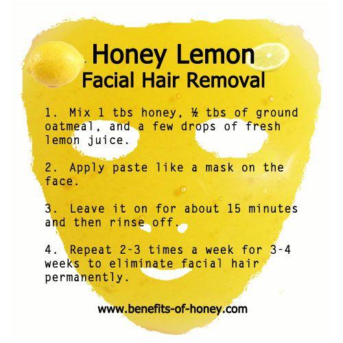 DIY Honey Lemon Facial Hair Removal - Lemon is good for skin tone and acne scars too!