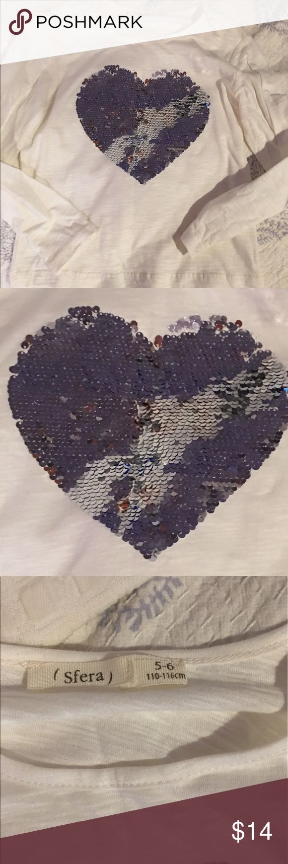 NWOT LS sequin heart Tank From Spain. The sequins flip up and down. Never worn Sfera Shirts & Tops Tees - Long Sleeve