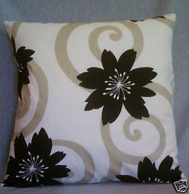 "BIG Cushion Cover Black White Taupe Funky Retro Designer Cotton Floral Decorative Throw Pillow Cover  Slip 22"""