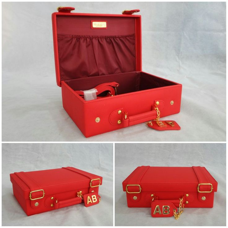 Our Small Carry Case customized in Red body & Inside lining with Gold metalwork & a Hanging tag monogram :) See more at: http://www.toteteca.com/ #bag #mini #case
