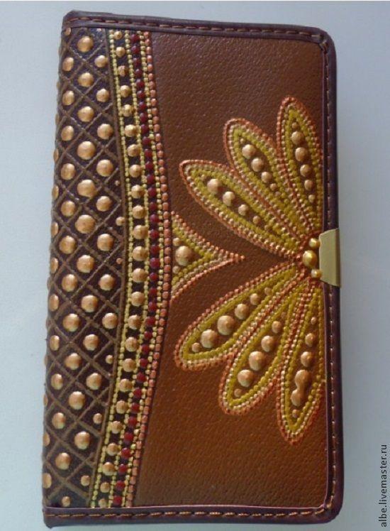 Купить Ежедневник точечная роспись Кнопочки - коричневый, авторская ручная работа, точечная роспись