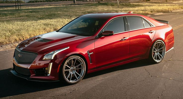 Liquorice Red Caddy CTS-V Rocks Liquid Metal Custom Wheels