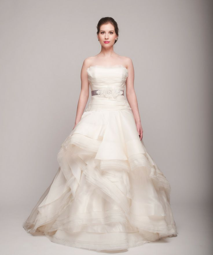 Rivini Giselle Cascading Peplum With Layers Of Raw Edges Ball Gown Wedding Dress | Nearly Newlywed