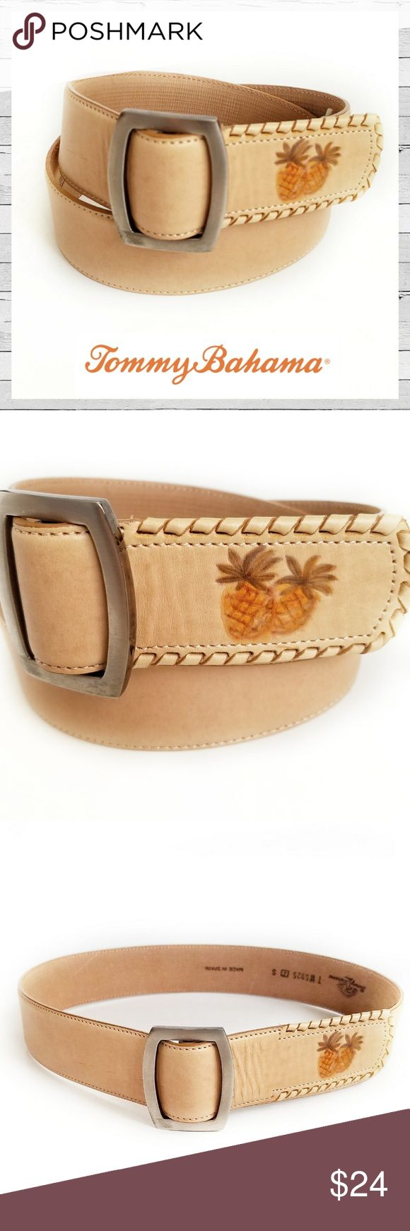"""NWT Tommy Bahama Pineapple Leather Belt Sz S NWT Tommy Bahama Pineapple Embroidered Leather Belt Sz S. Subtle details. Total belt length not including buckle measures 32 1/2"""". Bundle and save! Sorry no trades. Tommy Bahama Accessories Belts"""