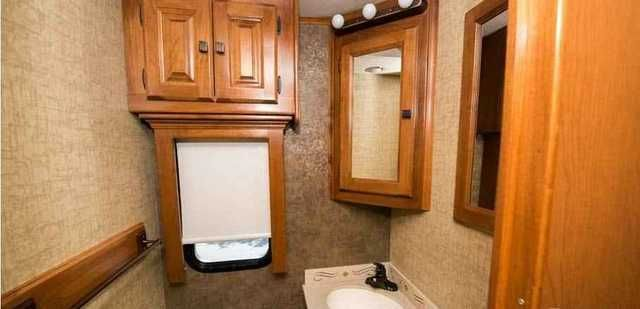 "2014 Used Tiffin Motorhomes Allegro Red 38QRA Class A in Indiana IN.Recreational Vehicle, rv, 2014 Tiffin Motorhomes Allegro Red 38QRA, Tiffin Allegro RED Class A Diesel Coach w/Rear Full Bath Including: 4 slide outs, Closet, Corner Vanity w/Sink, Toilet, 36"" Angled Shower, King Bed Slide w/Nightstands, Slideout Bank of Drawers w/Overhead Storage & TV, 1/2 Bath, TV in Living Area and overhead by drivers seat, tv outside, Dbl. Kitchen Sink/Range & 68"" Sofa w/Overhead Storage Slideout, 98""…"