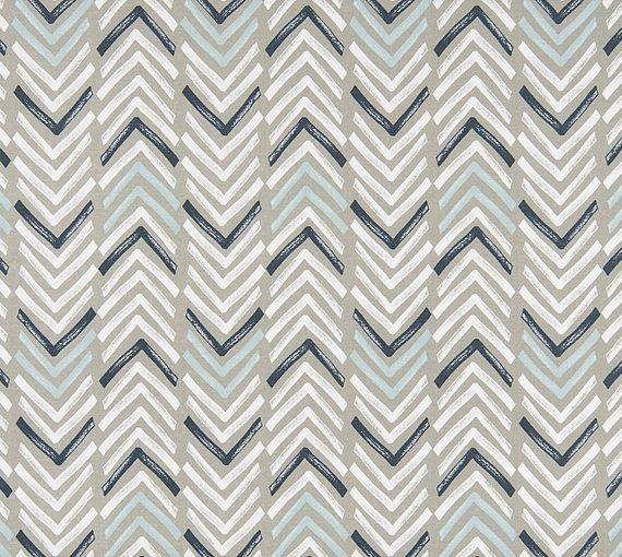 Gray Navy U0026 Aqua Designer Home Decor Fabric By The Yard Cotton Drapery  Curtains Fabric Upholstery