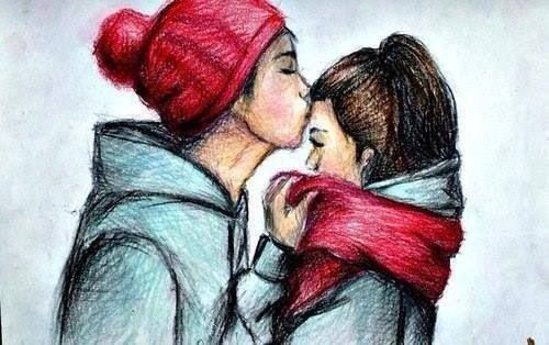 Draw Couple Kissing To A How Cute