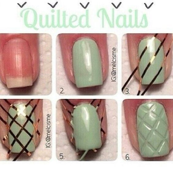 Quilted Nails - 15 Textured DIY Nail Tutorials That'll Make A Statement | GleamItUp: