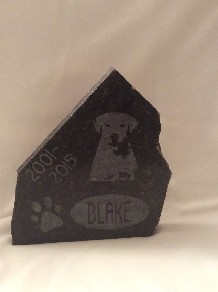 Customized pet memorial with portrait etching.
