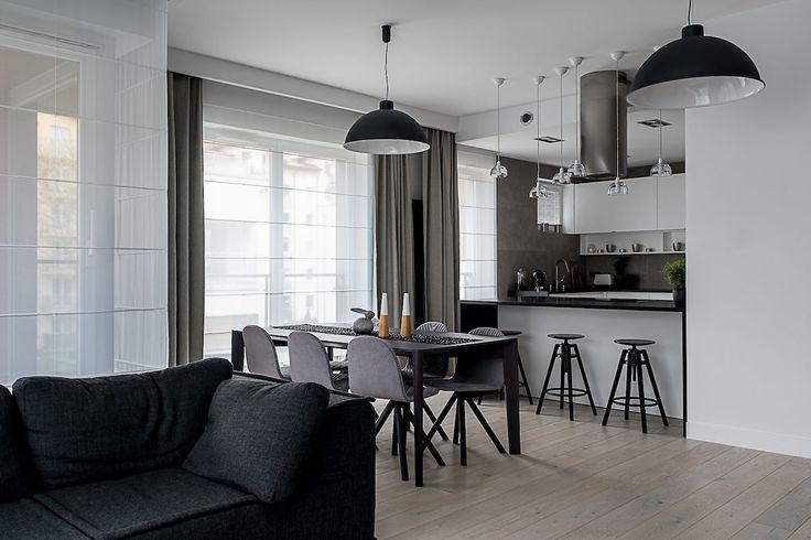 Pokój dzienny z kuchnią | tryc.pl #interiors #livingroom #tryc #modern #kitchen #jadalnia #interiordesigner