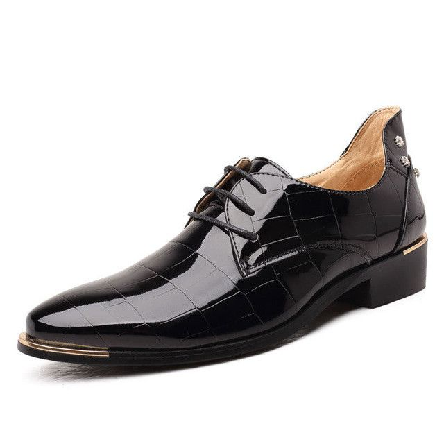 big size New Fashion Men Leather Shoes Oxfords Spring/Autumn Men Casual Flat Patent Leather Oxford Shoes For Men Pointed Toe