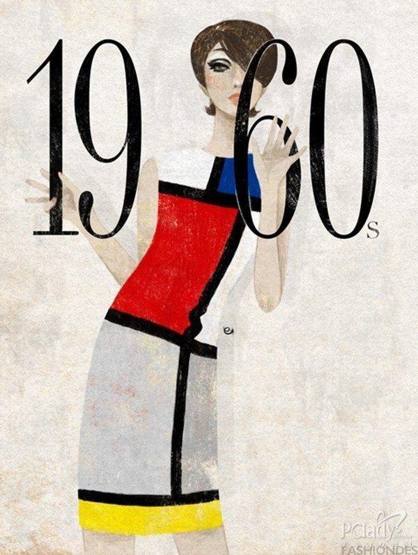 1960年代-三原色為基色的抽像派畫作運用-藝術max搖滾:誇張的睫毛與濃重的眼妝,強烈的幾何圖案與鮮艷的色彩,60年代是個追求個性藝術的年代。