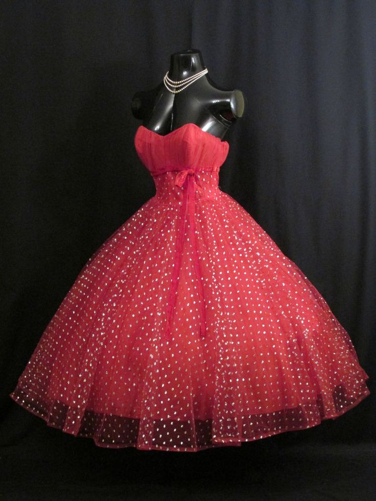 Vintage+50's+50s+STRAPLESS+Red+Tulle+Metallic+Party+PROM+Swing+DRESS