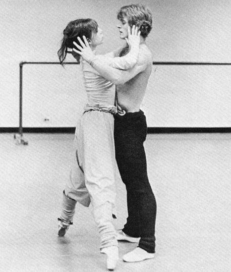 "Gelsey Kirkland and Mikhail Baryshnikov, rehearsing ""Hamlet Connotations,"" 1970's. Photo by Martha Swope."