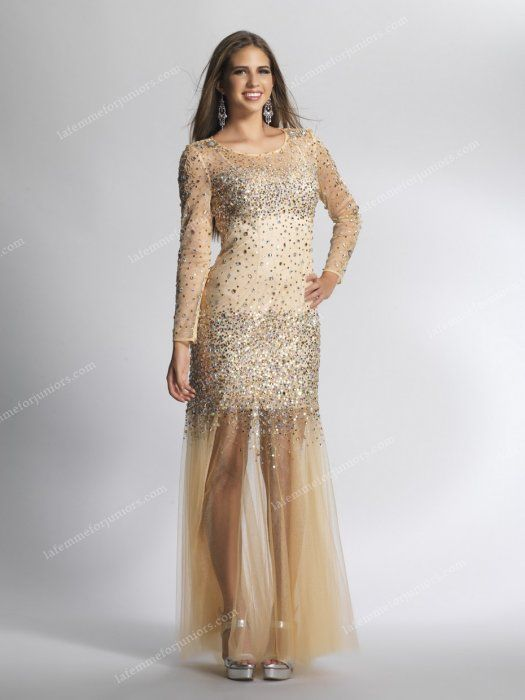 Dave and Johnny 8636 Nude Beaded Long Sleeve Floor Length Homecoming Dress