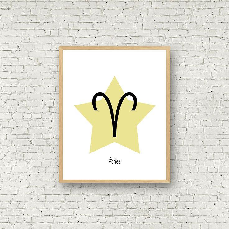 Signe du bélier, signe zodiaque à imprimer, horoscope bélier, cadeau d'anniversaire, téléchargement instantané, poster signes du zodiaques de la boutique MamzelleJules sur Etsy
